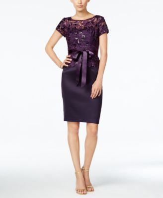 Adrianna Papell Belted Sequined Floral-Lace Sheath Dress