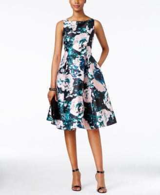 Adrianna Papell Floral-Print Fit & Flare Dress