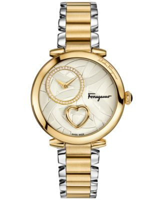 Ferragamo Women's Swiss Cuore Diamond (1/6 ct. t.w.) Two-Tone Ion-Plated Stainless Steel Bracelet Wa