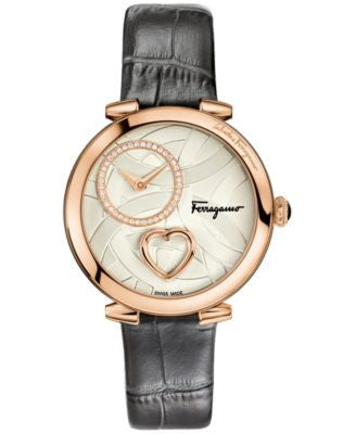 Ferragamo Women's Swiss Cuore Diamond (1/6 ct. t.w.) Dark Gray Leather Strap Watch 39mm FE205 0016