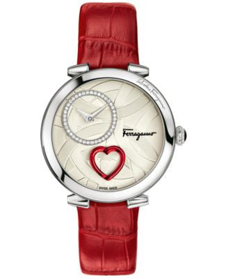 Ferragamo Women's Swiss Cuore Diamond (1/6 ct. t.w.) Red Leather Strap Watch 39mm FE203 0016