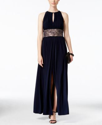 R & M Richards Gathered Keyhole Lace-Trim Gown