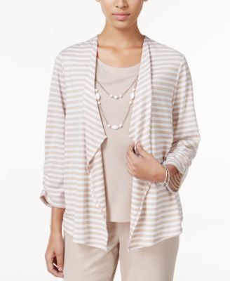 Alfred Dunner Petite Acadia Striped Layered-Look Necklace Top
