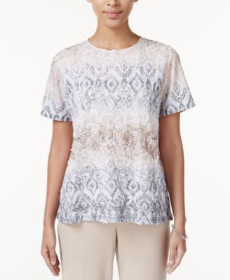Alfred Dunner Acadia Collection Textured Printed Top