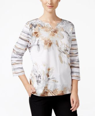 Alfred Dunner Petite Acadia Floral-Print Split-Neck Top