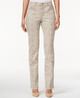 Charter Club Lexington Snakeskin-Print Straight-Leg Jean, Only at Vogily