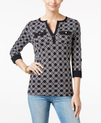 Charter Club Printed Henley Top, Only at Vogily
