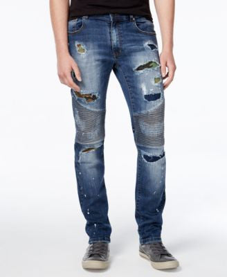 Reason Men's Slim-Fit Camo-Patch Moto Jeans