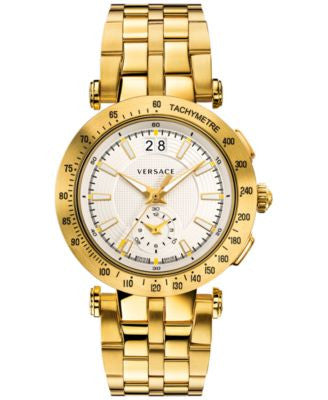 Versace Men's Swiss Chronograph V Race Diver Gold-Tone Ion-Plated Stainless Steel Bracelet Watch and