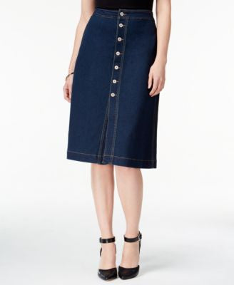 Style & Co. Button-Front Denim Skirt, Only at Vogily