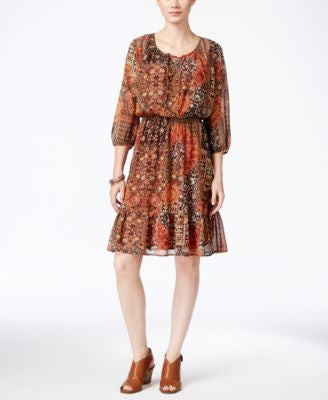 Style & Co. Petite Printed Peasant Dress, Only at Vogily