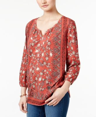 Style & Co. Petite Paisley-Print Henley Top, Only at Vogily