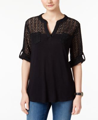 Style & Co. Lace-Trim Knit Top, Only at Vogily