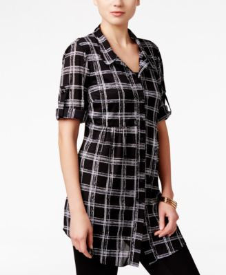 Style & Co. Petite Plaid Tunic Shirt, Only at Vogily