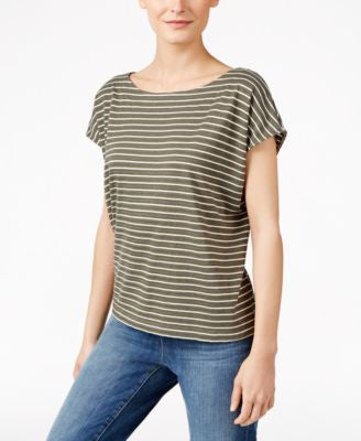 Eileen Fisher Striped Cotton Boat-Neck Top