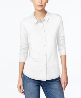 Eileen Fisher Petite Long-Sleeve Button-Down Shirt
