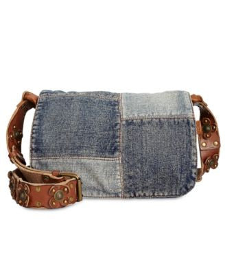 Patricia Nash Denim Patchwork Rosa Saddle Bag