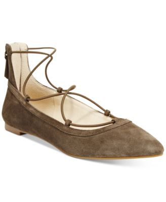 INC International Concepts Women's Zachh Lace-Up Flats, Only at Vogily