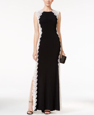 Xscape Crochet Lace Column Gown