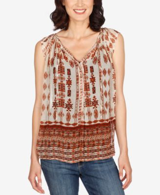 Lucky Brand Cap-Sleeve Printed Peasant Blouse