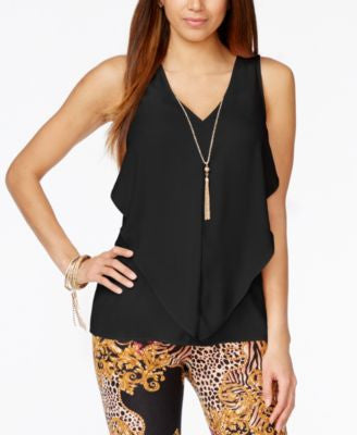Thalia Sodi Sleeveless Ruffled Necklace Blouse, Only at Vogily