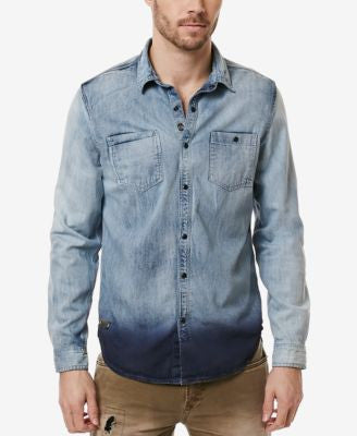 Buffalo David Bitton Men's Denim Dip-Dye Shirt