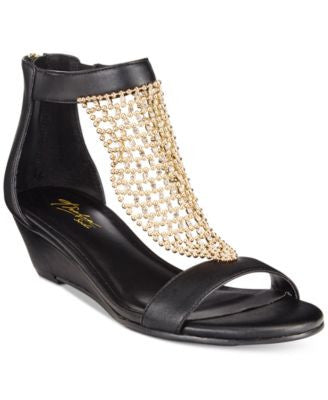 Thalia Sodi Tibby Gold-Mesh Embellished Wedge Sandals, Only at Vogily