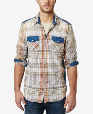 Buffalo David Bitton Men's Plaid Contrast-Trim Long-Sleeve Shirt