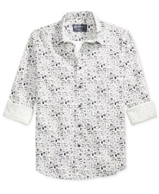 American Rag Men's Printed Long-Sleeve Shirt, Only at Vogily