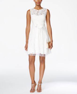 Betsy & Adam Lace Tulle Fit & Flare Dress