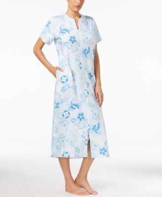 Miss Elaine Floral-Print Zip-Front Robe