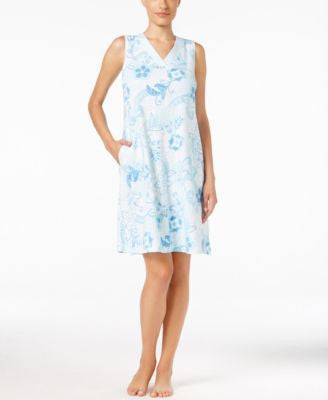 Miss Elaine Sleeveless Floral-Print Sleeveless Nightgown