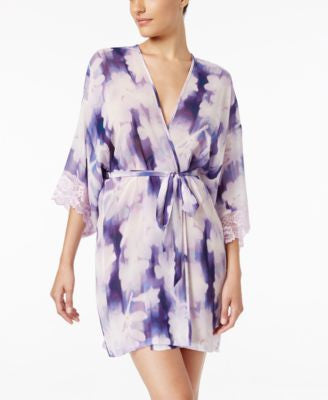 Linea Donatella Bellina Lace-Trimmed Printed Robe