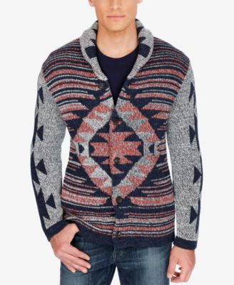 Lucky Brand Men's Jacquard Shawl-Collar Cardigan