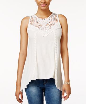 American Rag Crocheted-Bib Handkerchief-Hem Top, Only at Vogily