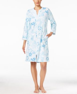 Miss Elaine Floral-Print Zip-Front Short Robe