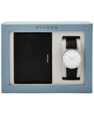 Skagen Men's Slim Holst Black Leather Strap Watch & Wallet Box Set 40mm SKW1077