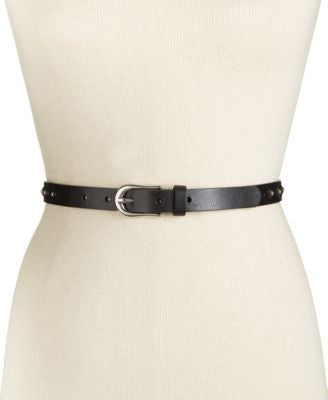 INC International Concepts Studded Skinny Leather Belt, Only at Vogily