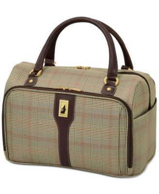 London Fog Knightsbridge 17 Cabin Tote, Available in Brown and Grey Glen Plaid, Vogily Exclusive