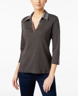 Karen Scott Printed-Trim Top, Only at Vogily