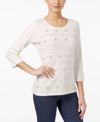 Karen Scott Studded Three-Quarter-Sleeve Top, Only at Vogily
