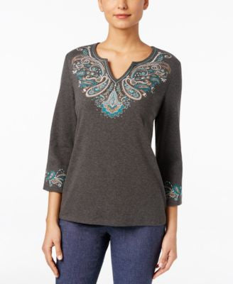 Karen Scott Three-Quarter-Sleeve Embroidered Top, Only at Vogily