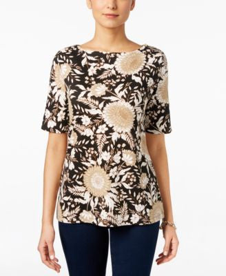 Karen Scott Petite Boat-Neck Printed Top, Only at Vogily