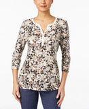 Karen Scott Petite Printed Henley Top, Only at Vogily