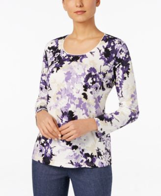 Karen Scott Printed Scoop-Neck Top, Only at Vogily
