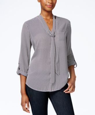 Charter Club Dot-Print Tie-Neck Blouse, Only at Vogily