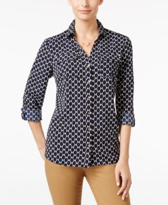 Charter Club Printed Utility Shirt, Only at Vogily