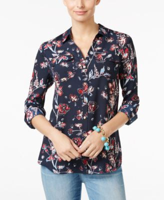 Charter Club Floral-Print Utility Shirt, Only at Vogily