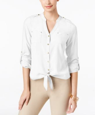 Thalia Sodi Solid Tie-Front Blouse, Only at Vogily
