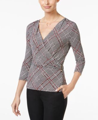 Charter Club Plaid Faux-Wrap Top, Only at Vogily